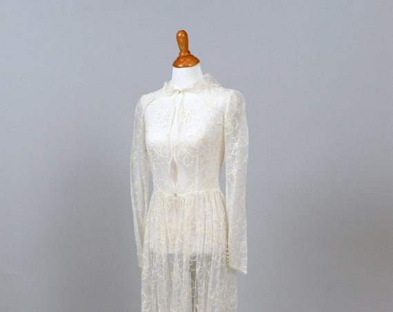 1970 Sheer Embroidered White Lace Vintage Wedding Coat Dress