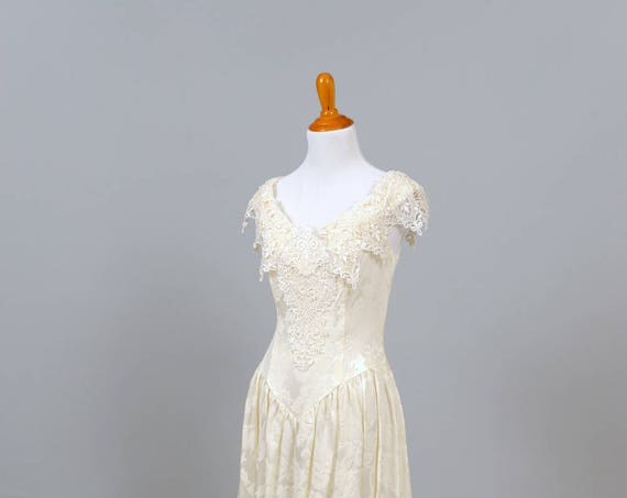 1980's Vintage Embroidered Satin  Wedding Dress