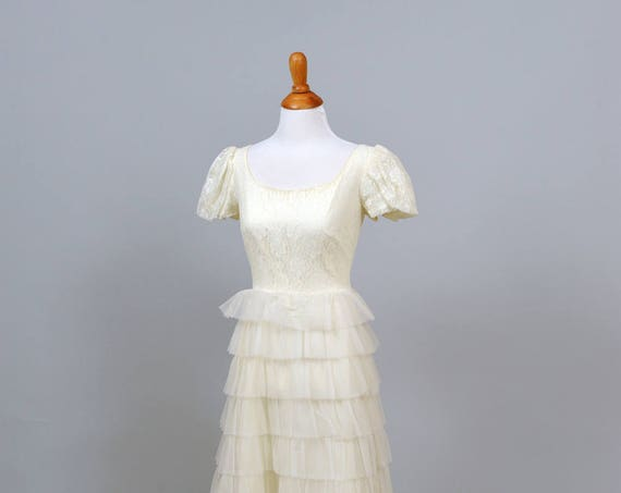 1960 Ruffled Chiffon Vintage Wedding Gown