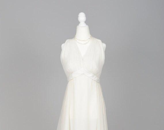 1970 White Chiffon Halter Gown