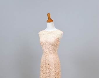 1960 Pink Sheer Crocheted Lace Vintage Wedding Gown