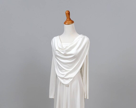 1970 White Scarf Vintage Wedding Gown