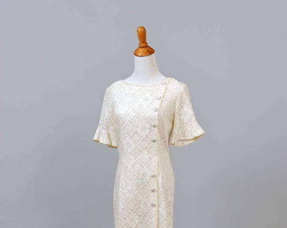 1960 Mod Lace Trumpet Sleeve Vintage Wedding Dress