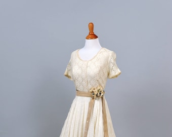 1970s Crochet and Lace Vintage Wedding Gown