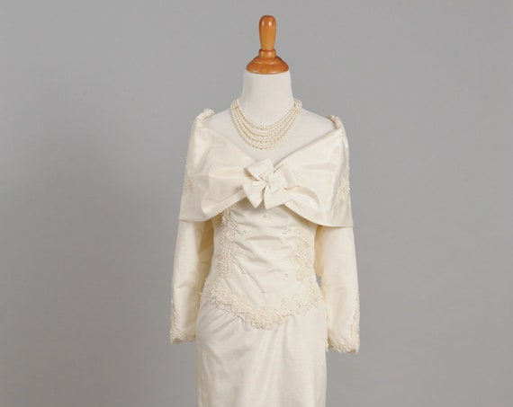 1970 Long Sleeve Satin Wedding Gown