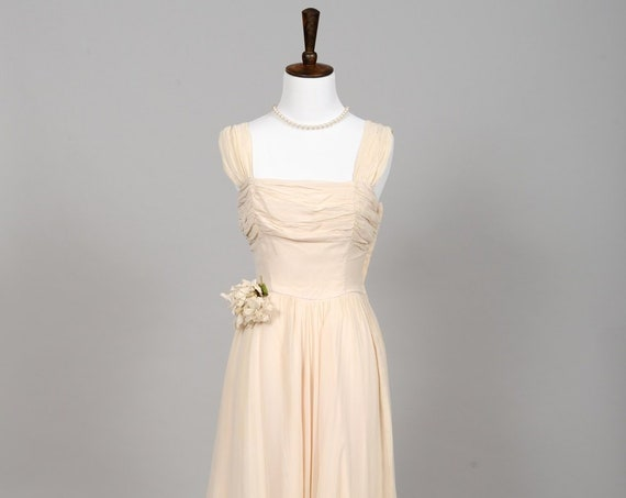 1950 Pale Peach Chiffon Vintage Wedding Gown