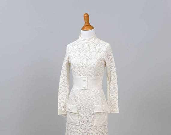 1960 Crochet and Linen A-line Vintage Wedding dress