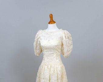 1970s Balloon Sleeves Vintage Wedding Dress