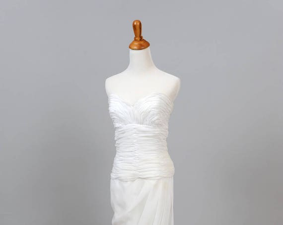 1970's Vintage Strapless Sweetheart Wedding Gown