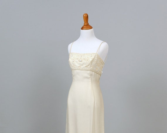 1960 Pique And Faille  Beaded Vintage Wedding Dress