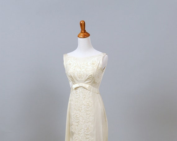 1960 Silk And Beaded Lace Empire Vintage Wedding Gown