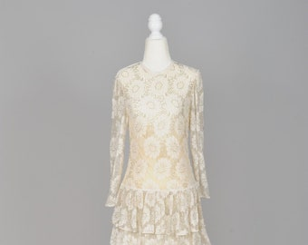 1970 Beaded Flapper Style Vintage Wedding Dress