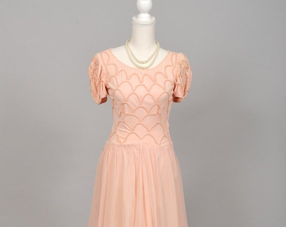 1940 Pink Sheer Embroidered Vintage Wedding Gown