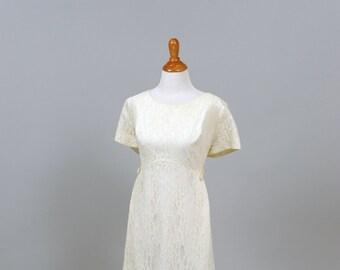 1960 Lace Scooped Neckline Vintage Wedding Dress