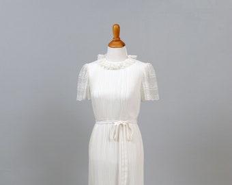 1970's White Pleated Chiffon Vintage Wedding Dress
