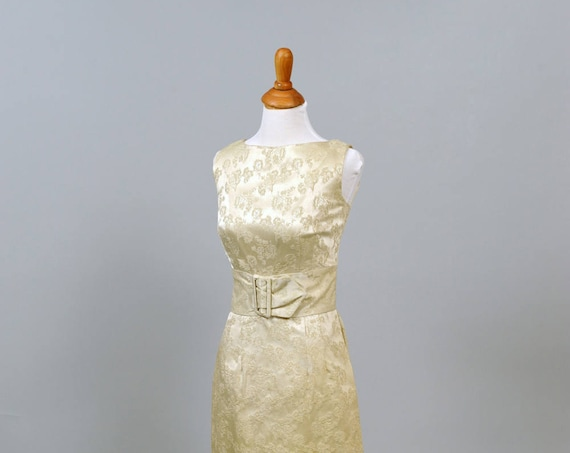 1960 Floral Jacquard Vintage Wedding Dress