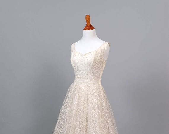 1950 White Lace and Gold Sequin Vintage Wedding Dress