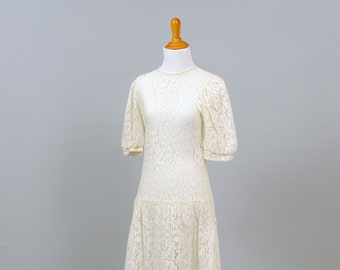 1970s Lace Puffed Sleeves Vintage Wedding Dress