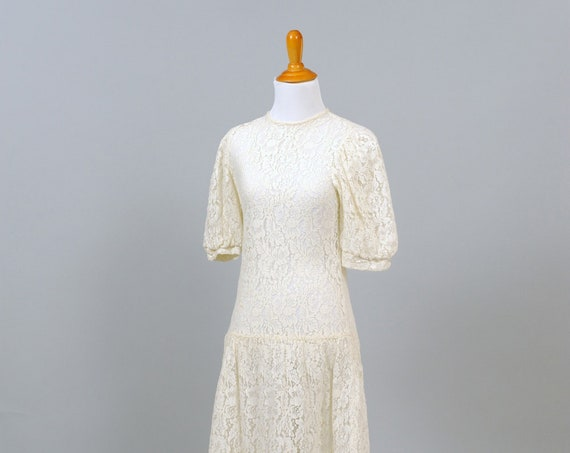 1970's Lace Puffed Sleeves Vintage Wedding Dress