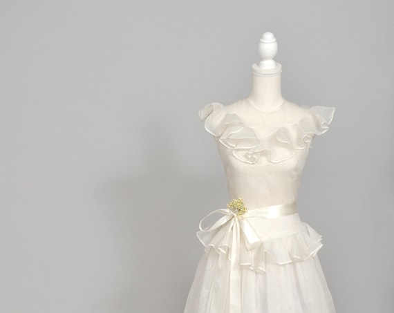 1940 Ruffled Organdy Vintage Wedding Gown