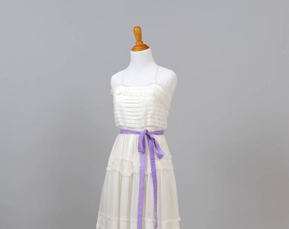1970 Pin Tuck  Cotton Vintage Wedding Dress