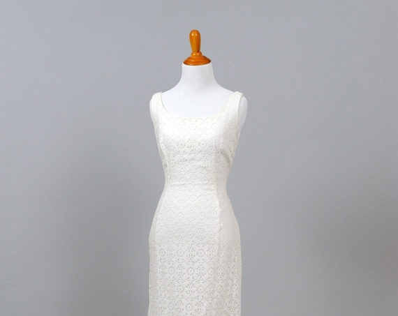 1970 White Crochet Sheath Vintage Wedding Gown