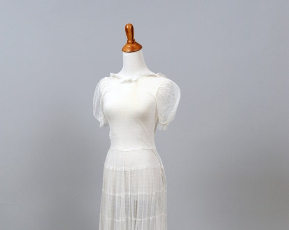 1930's Dotted Net Vintage Wedding Gown