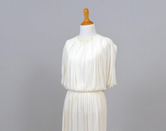 1970 White Grecian Vintage Wedding Dress