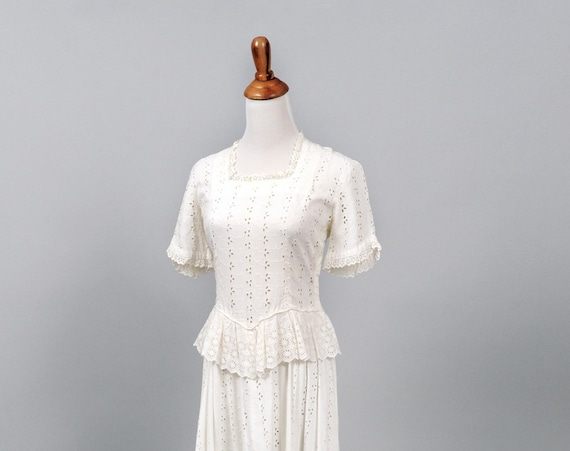 1950 White Eyelet Peplum Vintage Wedding Gown