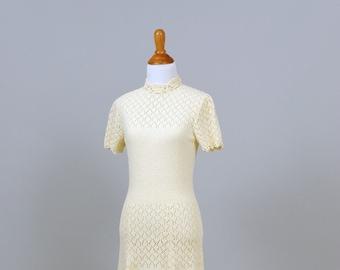 1960 Cream Knit Vintage Wedding Dress