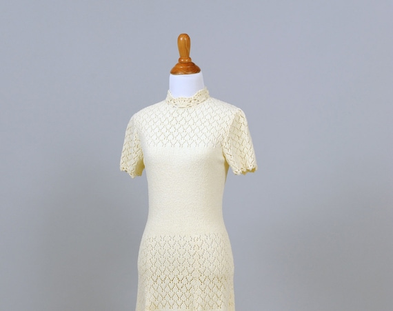 1960 Cream Knit Vintage Wedding Dress