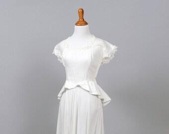 1950 Pique Peplum Bohemian Vintage Wedding Gown