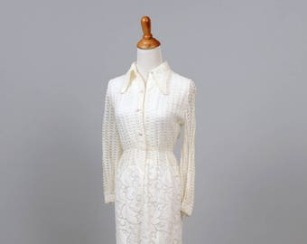 1970s Crochet  Shirtmaker Vintage Wedding Dress