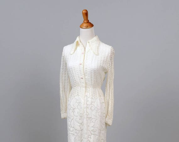 1970 Crochet Vintage Shirtmaker Wedding Dress