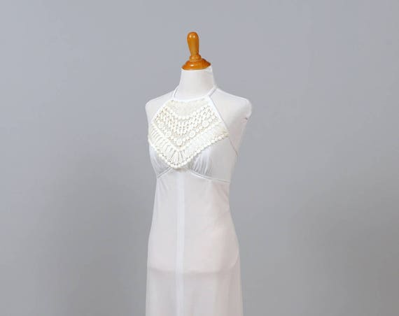 1970 Vintage Halter Bib Wedding Gown