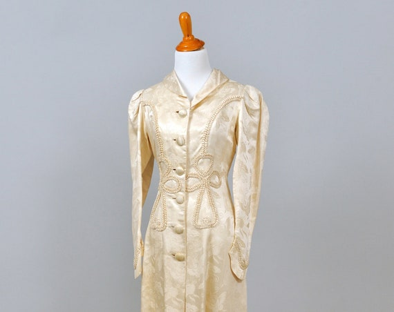 1960 Printed Silk And Ribbon Vintage Wedding Coat