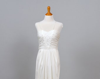 1970s Lace and Knit Vintage Wedding Gown