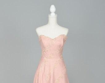 1950 Pink Strapless Linen Vintage Wedding Dress