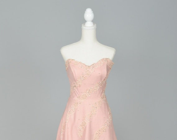 1950 Pink Strapless Linen Vintage Wedding Dress