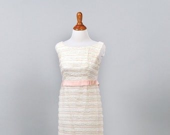 1960 Shell Pink Ribbon Vintage Wedding Gown