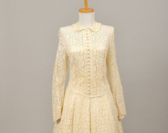 1950 Long Sleeve Lace Vintage Wedding Gown