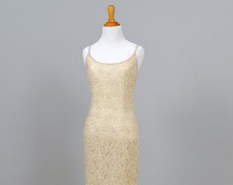 1970s Ecru Beaded Vintage Wedding Gown