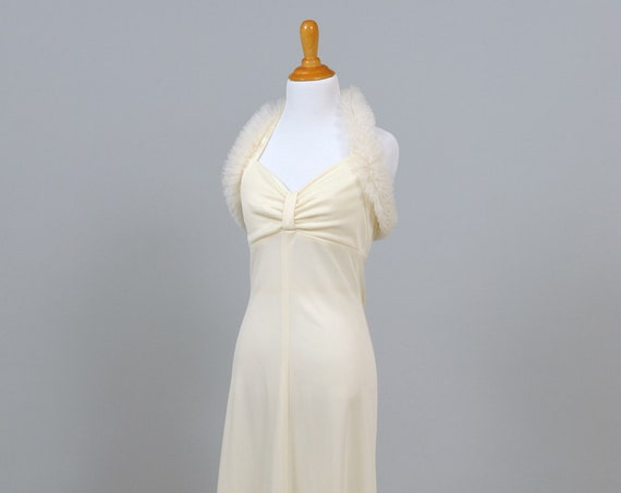1970 Halston Style Feathered Halter Vintage Wedding Gown