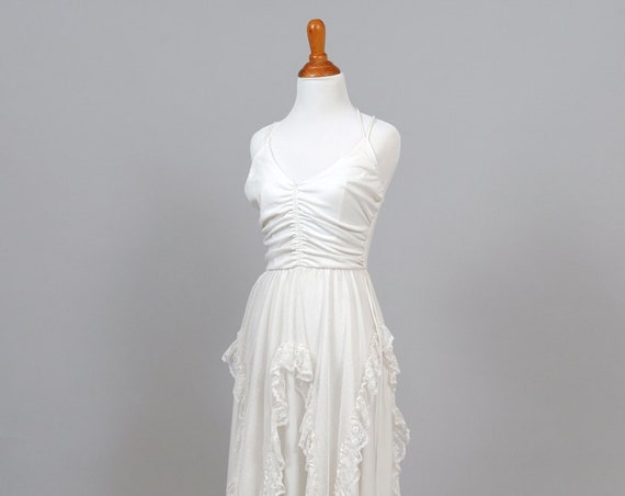 1970' Asymmetrical Lace Vintage Wedding Dress