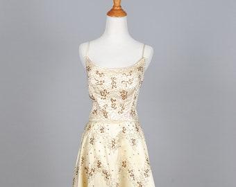 1950 Ivory Satin and Sequin Vintage Wedding Dress