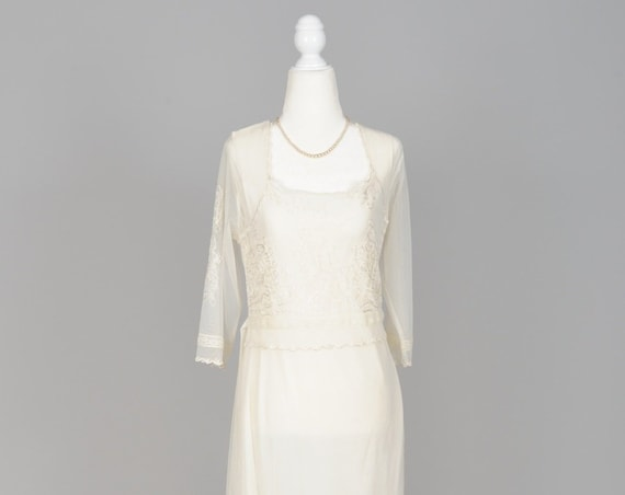 1970 Embroidered Net Vintage Wedding Gown
