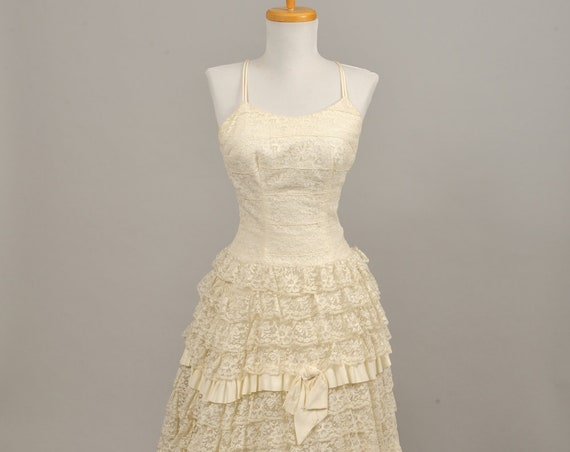 1960's Tiered Lace Vintage Wedding Gown