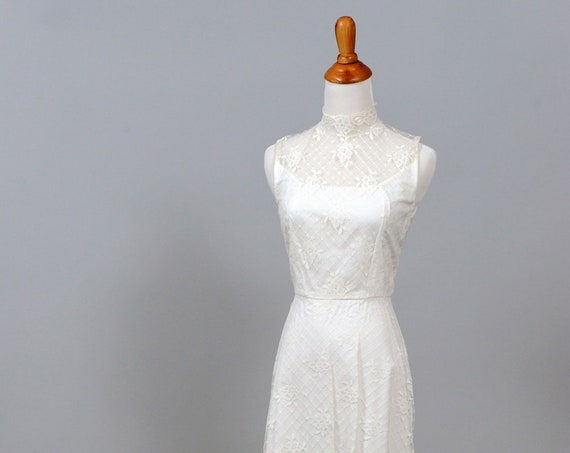 1970 Embroidered Vintage Wedding Gown