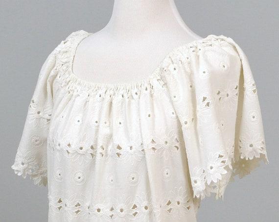1960 Boho Eyelet Vintage Wedding Dress