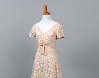 1970 Peach and White Lace Vintage Wedding Gown